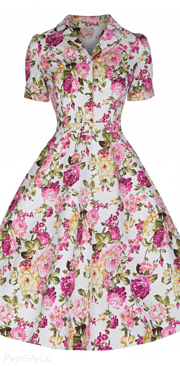 Lindy Bop 'Uma' Beautiful Floral Bouquet Print Vintage 50's Tea Dress
