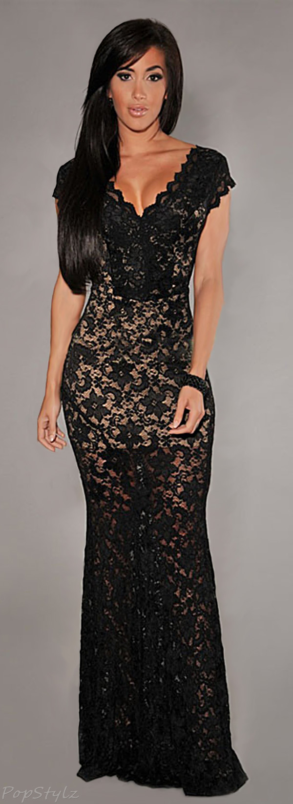 made2envy Lace Nude Illusion V Neck Deep Back Long Evening Dress