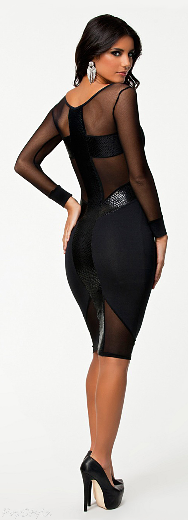 made2envy Sheer Mesh See-Through Long Sleeves Midi Dress