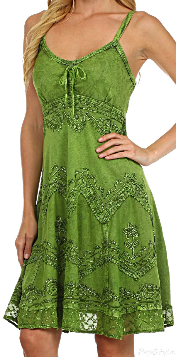 Sakkas Stonewashed Embroidered Mid Length Dress