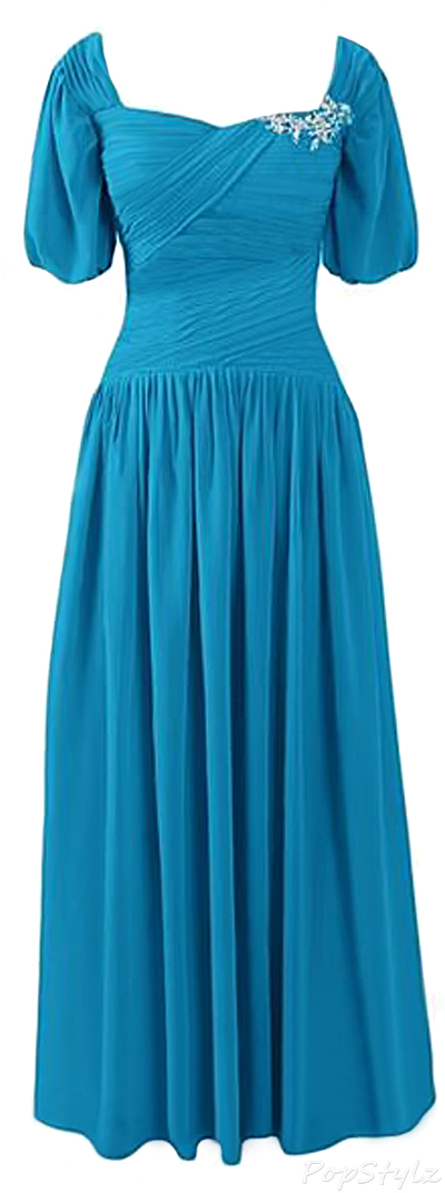 Sunvary Short Sleeves Chiffon Long Formal Gown