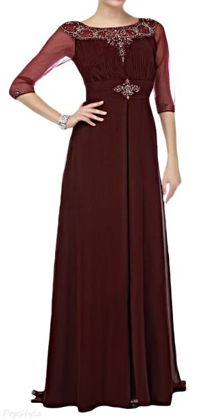 Sunvary Vintage A-line Chiffon Half Sleeves Long Formal Dress