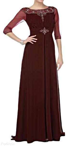 Sunvary Vintage A-line Chiffon Half Sleeves Long Formal Dress