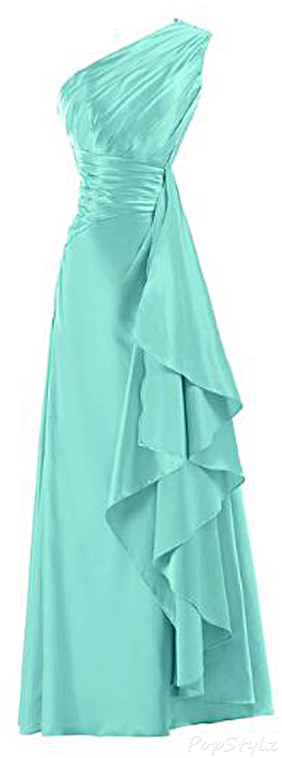 Sunvary A-line One Shoulder Satin Long Formal Gown