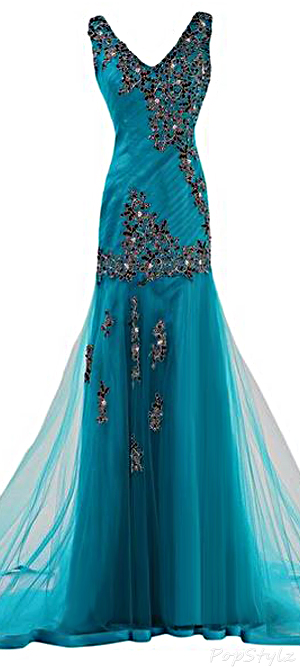 Sunvary Appliqued Tulle Mermaid Long Formal Evening Gown