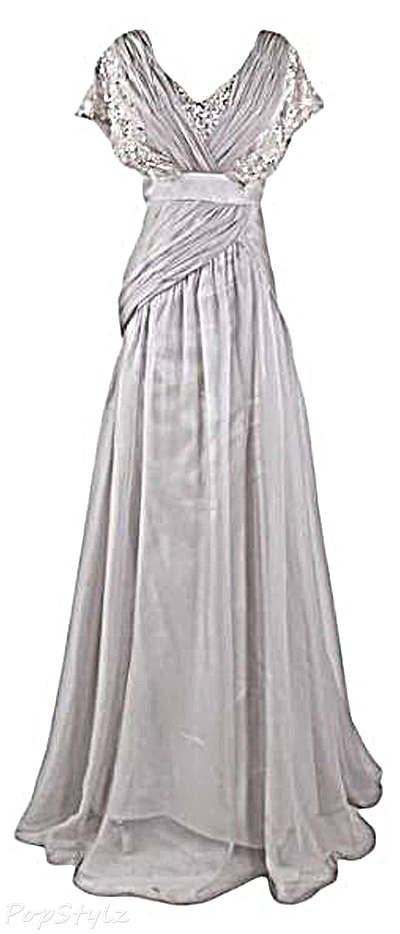 Sunvary Silver Lace & Chiffon Floor Length Long Evening Gown