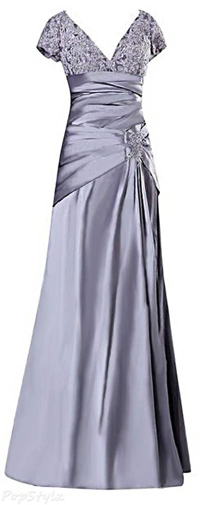 Sunvary Silver Taffeta  & Lace Short Sleeves Long Formal Gown