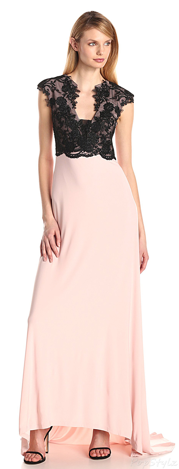 Adrianna Papell Cap-Sleeve Illusion Back Lace Top Gown