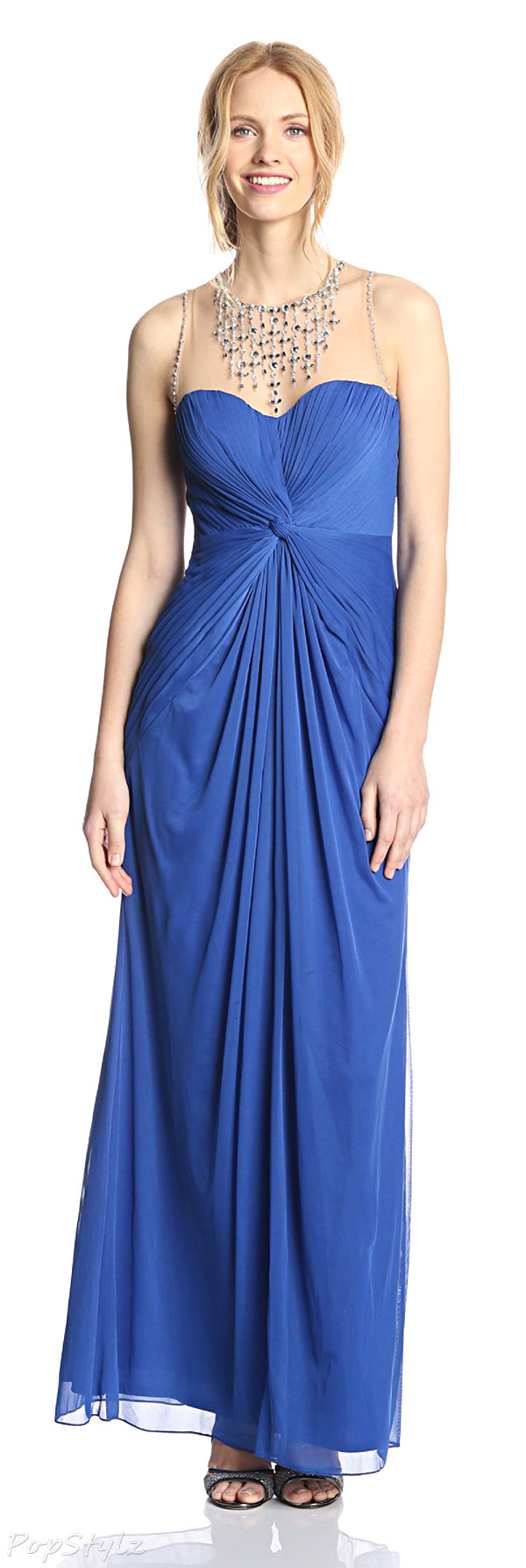 Adrianna Papell French Blue Necklace Gown