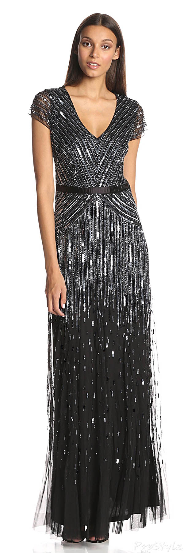 Adrianna Papell Cap-Sleeve V-Neck Fully-Beaded Gown