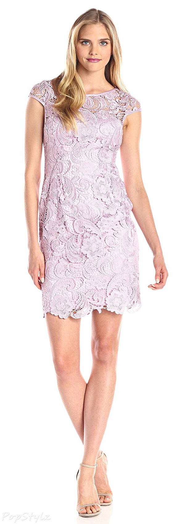 Adrianna Papell Icy Lilac Cap-Sleeve Lace Dress