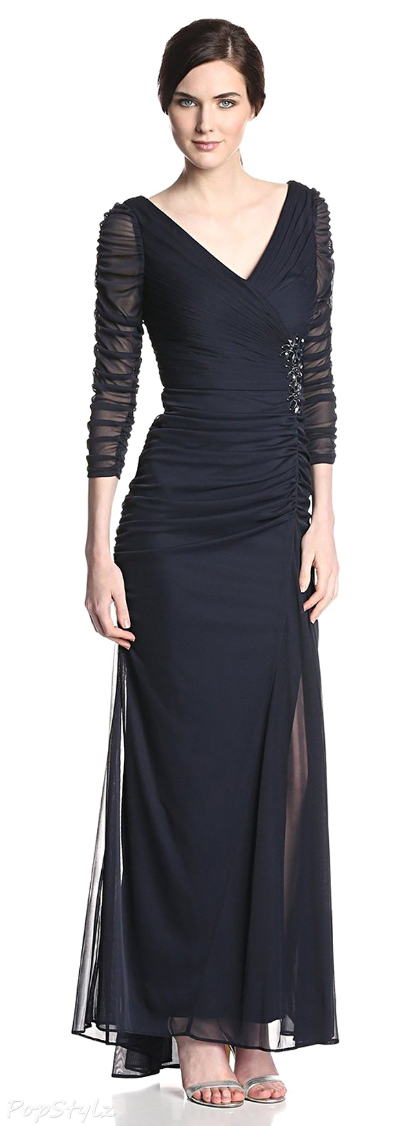 Adrianna Papell Three-Quarter Sleeve Evening Gown