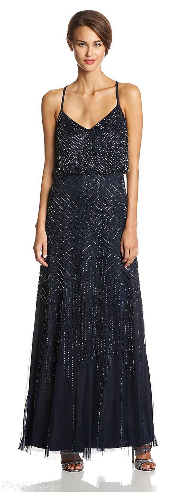 Adrianna Papell Midnight Blue Sleeveless Beaded Gown