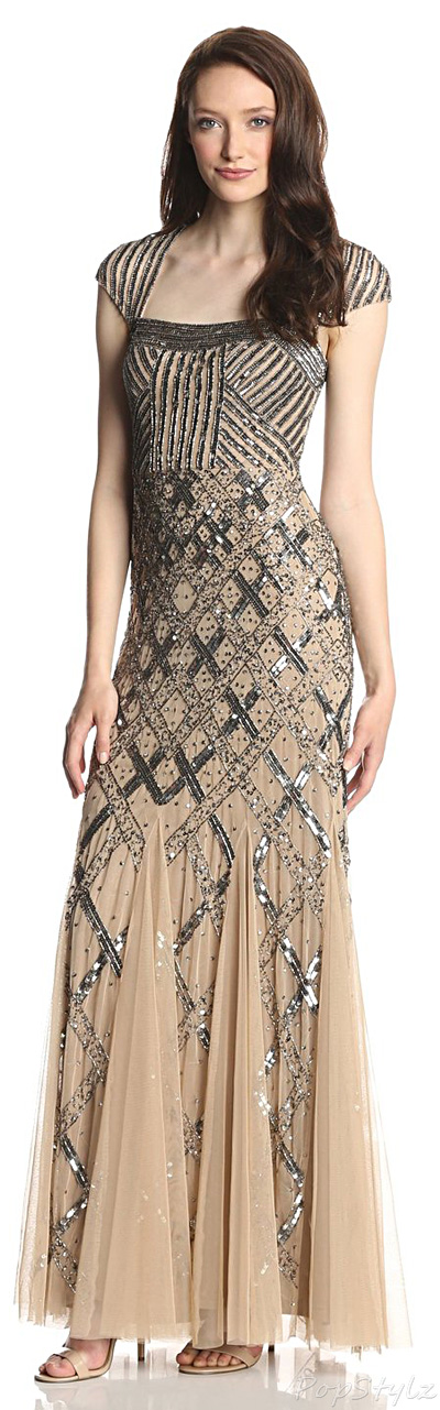 Adrianna Papell Beaded Gown with Cap Sleeves