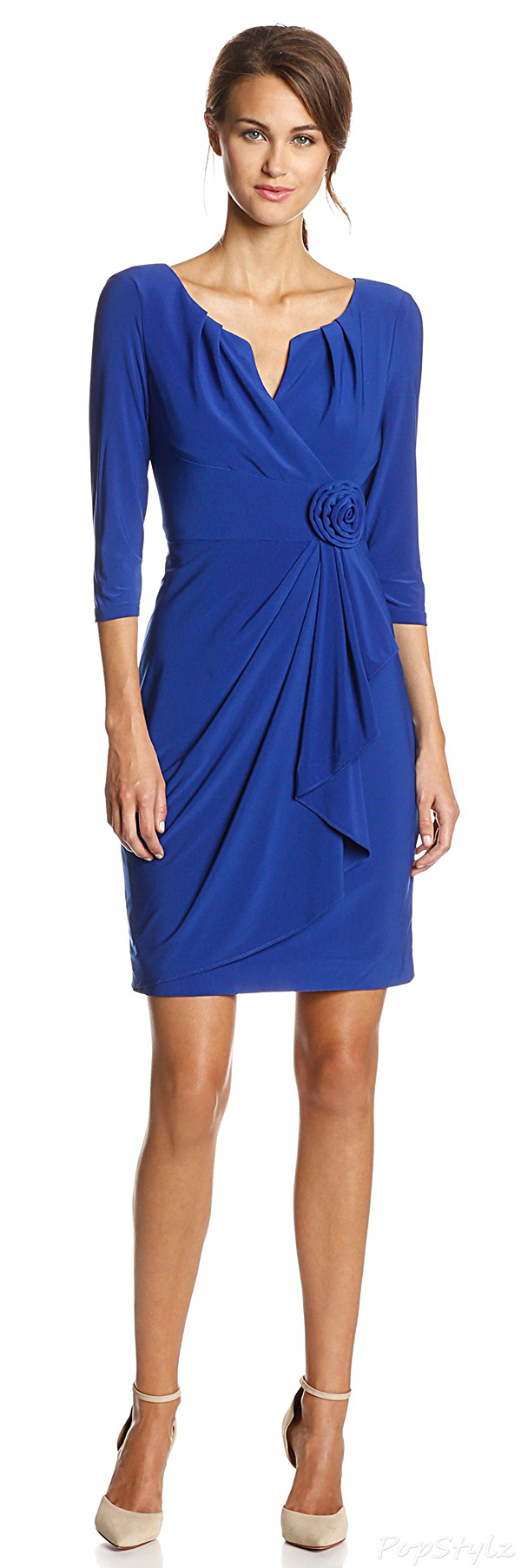 Adrianna Papell Sapphire Flower Side-Gather Dress