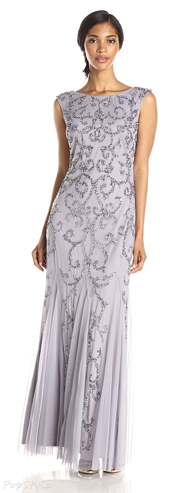 Adrianna Papell Women's Cap Sleeve Beaded Gown