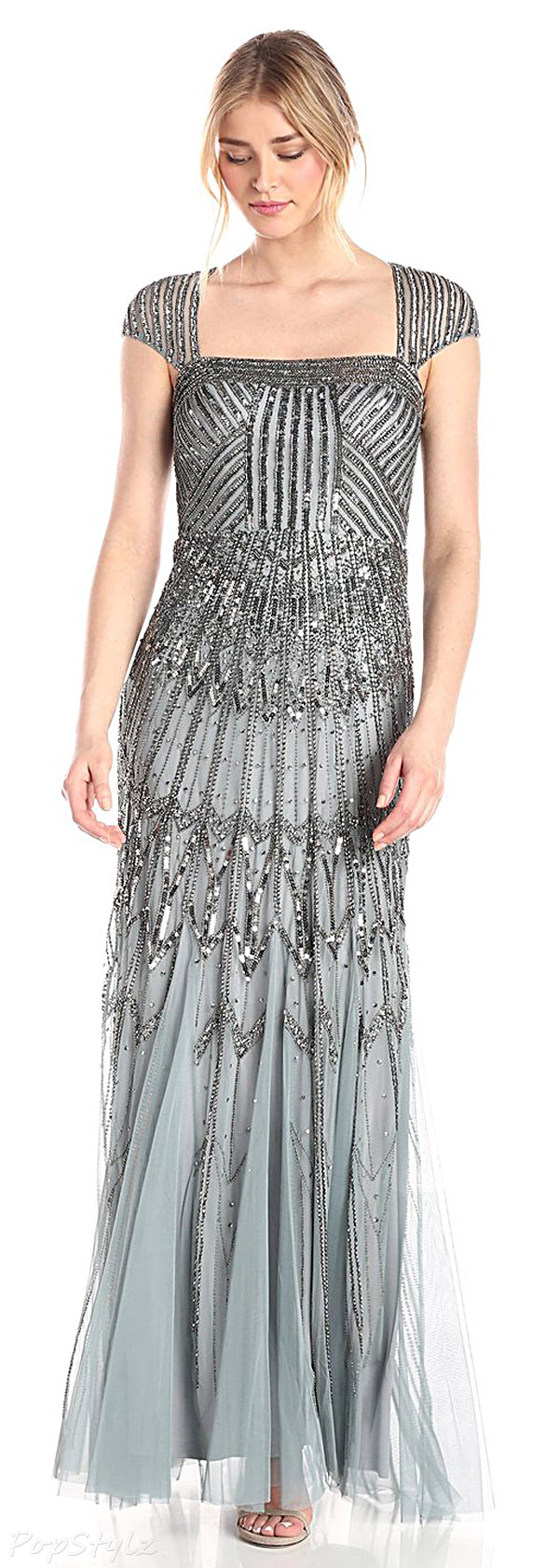Adrianna Papell Long Beaded Dress with Cap Sleeves