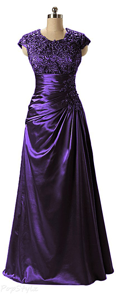 Angel Bride A-Line Jeweled Long Evening Gown