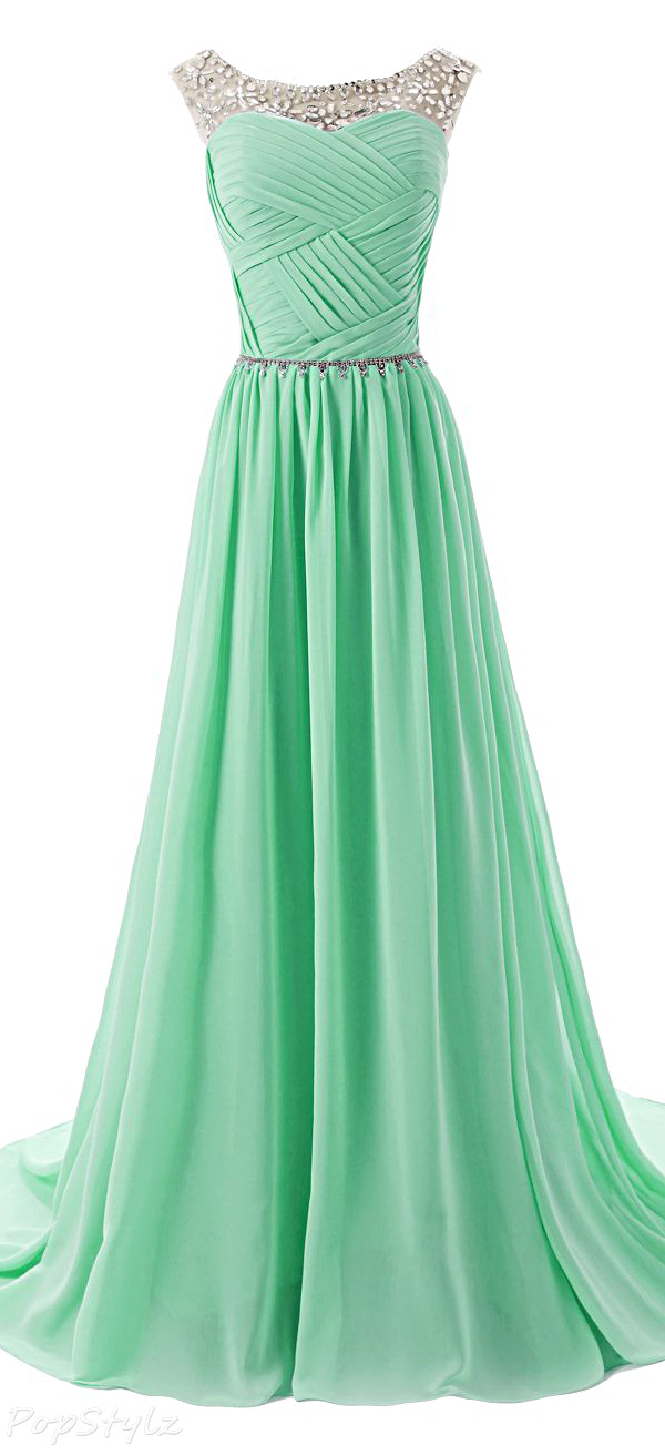 Dressystar Sparkling Embellished Waist Beaded Straps Gown
