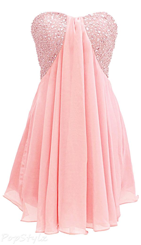 Dressystar Women's Short Strapless Chiffon Dress