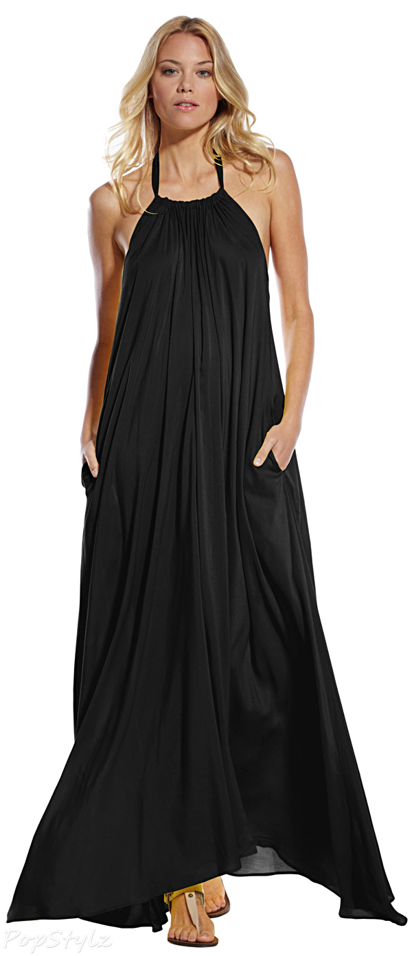Elan RY597 Maxi Halter Tie Flowy Long Dress
