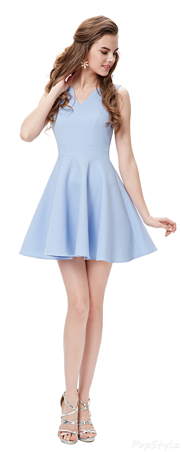 Ever Pretty 05084 Sleeveless V Neck Periwinkle Short Party Dress