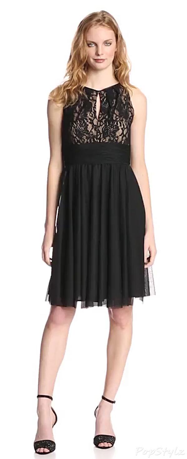 Jessica Howard Sleeveless Shirred Keyhole Lace Dress