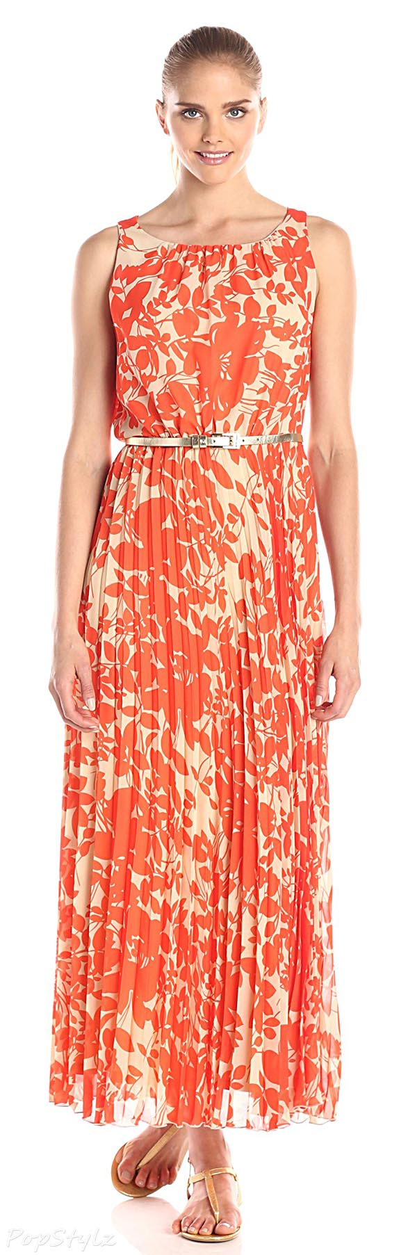Jessica Howard Printed Maxi Dress with Belt