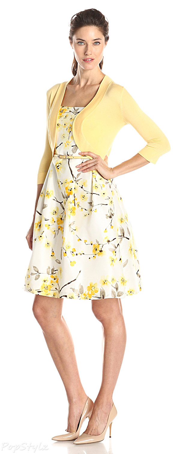 Jessica Howard Sleeveless Floral Print Dress & Sweater