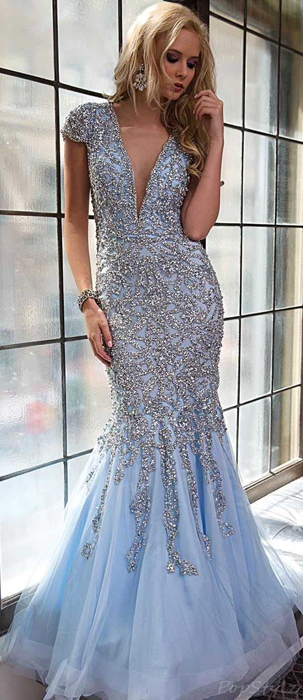 Jovani 98040 Stunning Ice Blue Long Evening Gown