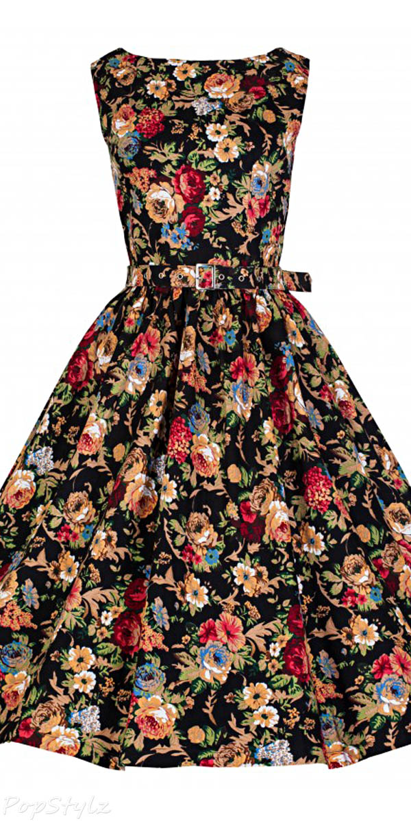 Lindy Bop 'AUDREY' Hepburn Style Vintage 1950's Spring Garden Floral Party Dress