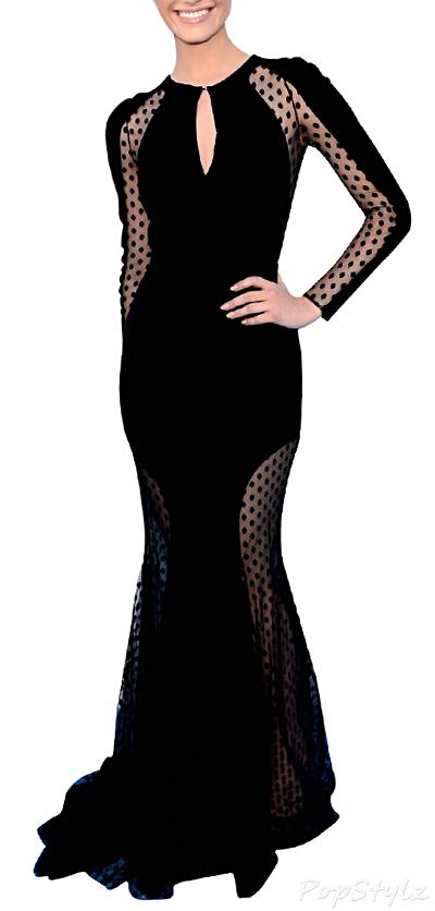 MIUSOL Keyhole Dot Polka Long Sleeves Dress