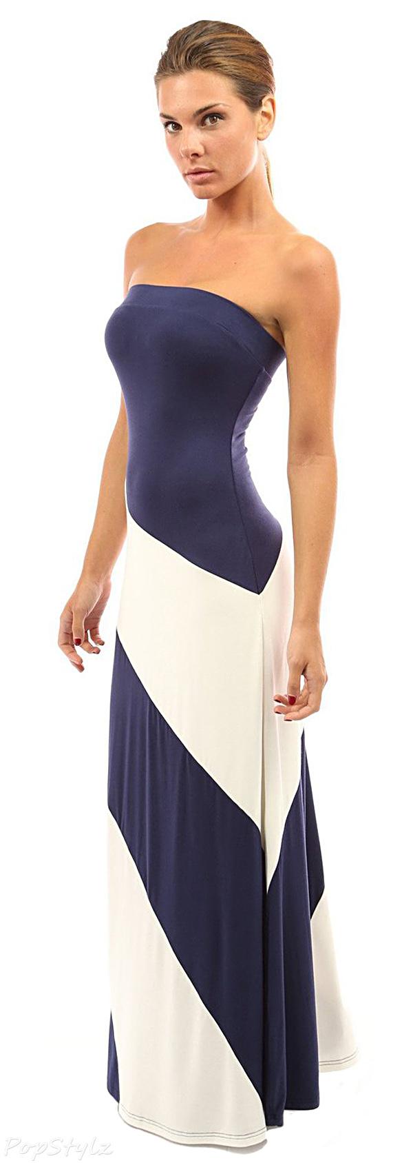 PattyBoutik Women's Striped Tube Maxi Dress