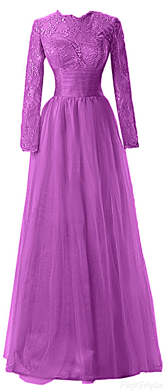 Sunvary 2015 Jewel Neck Lace Formal Dress