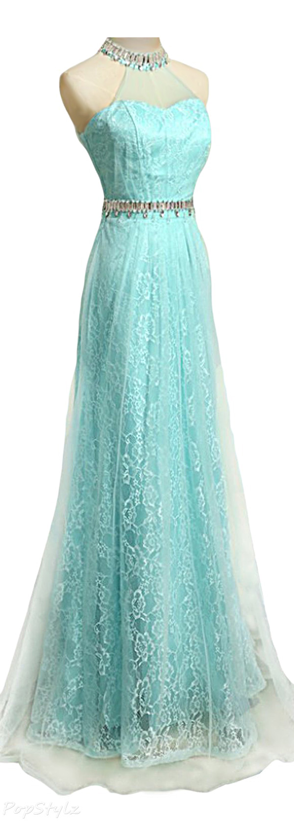 Sunvary Halter Lace & Tulle Long Formal Gown
