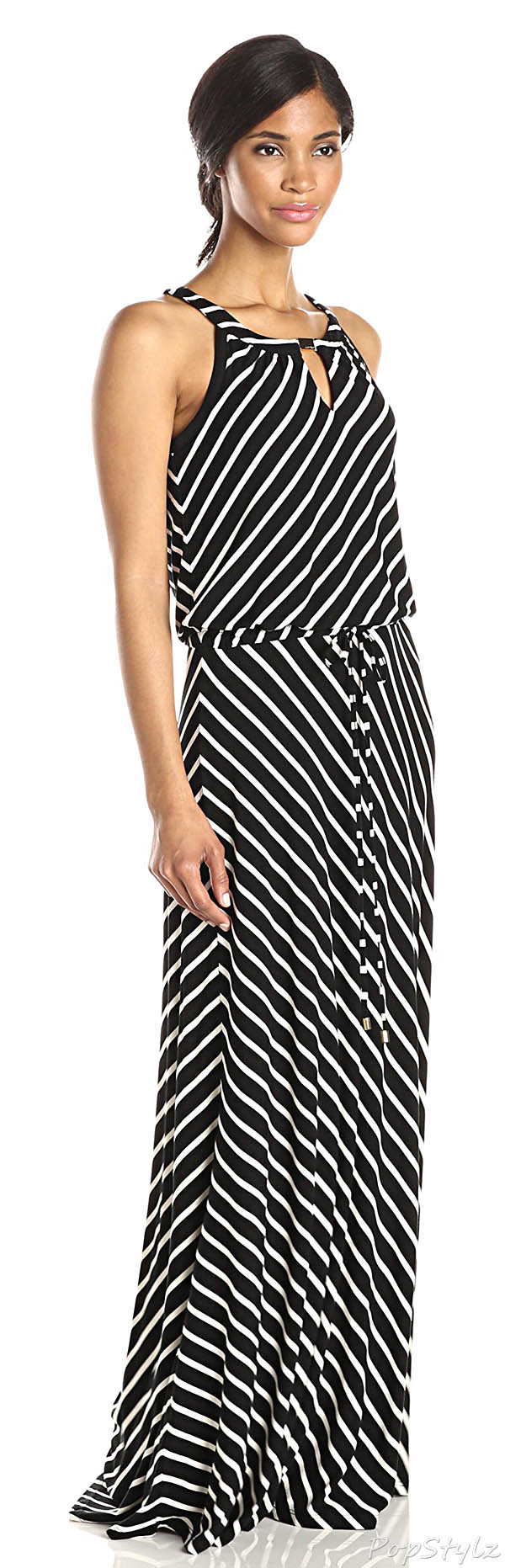 Calvin Klein Stripe Keyhole Maxi Dress