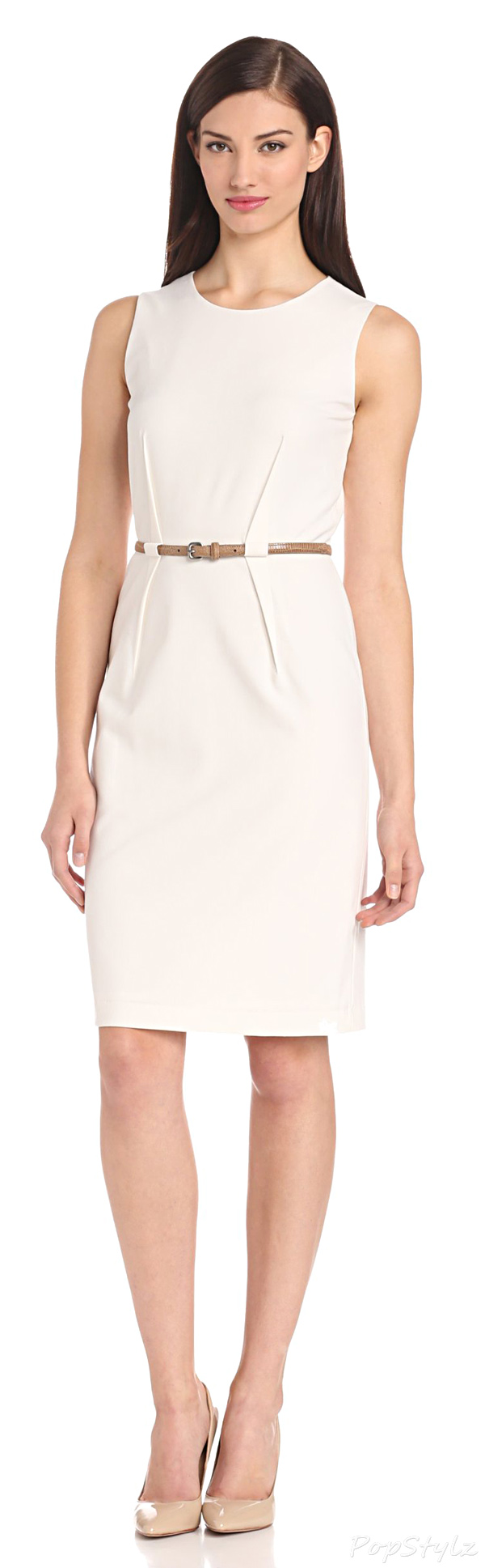 Calvin Klein Sleeveless Belted Suit Dress