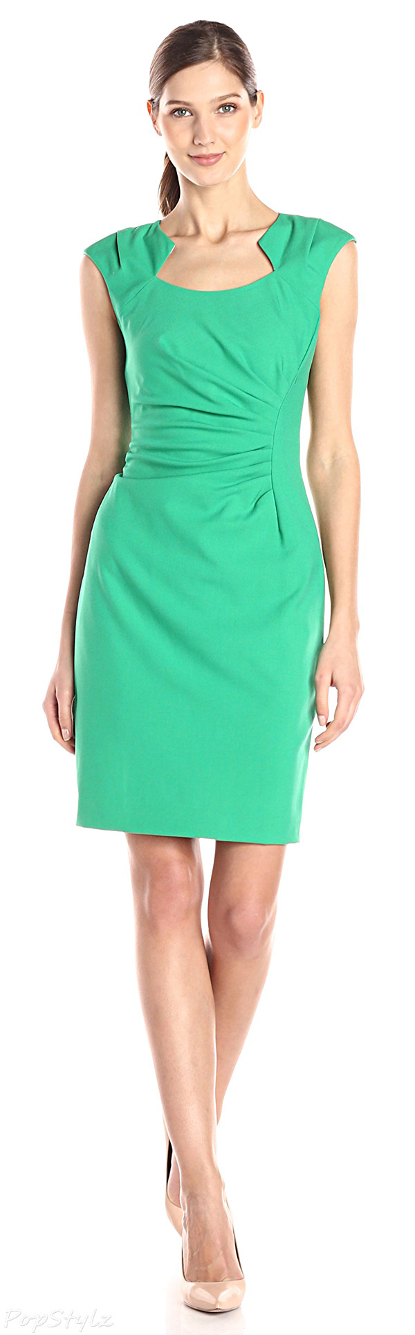 Calvin Klein Cap Sleeve Side Rouched Sheath Dress