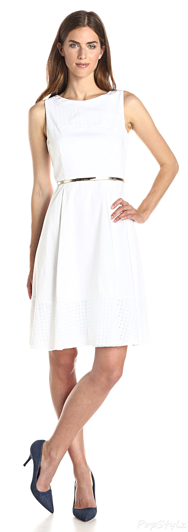 Calvin Klein Fit & Flare Dress with Eyelet Inserts