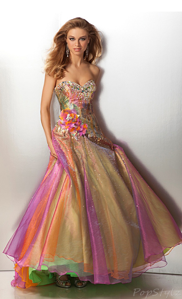 Clarisse 17199 Rainbow Colors Strapless Drop Waist Ball Gown