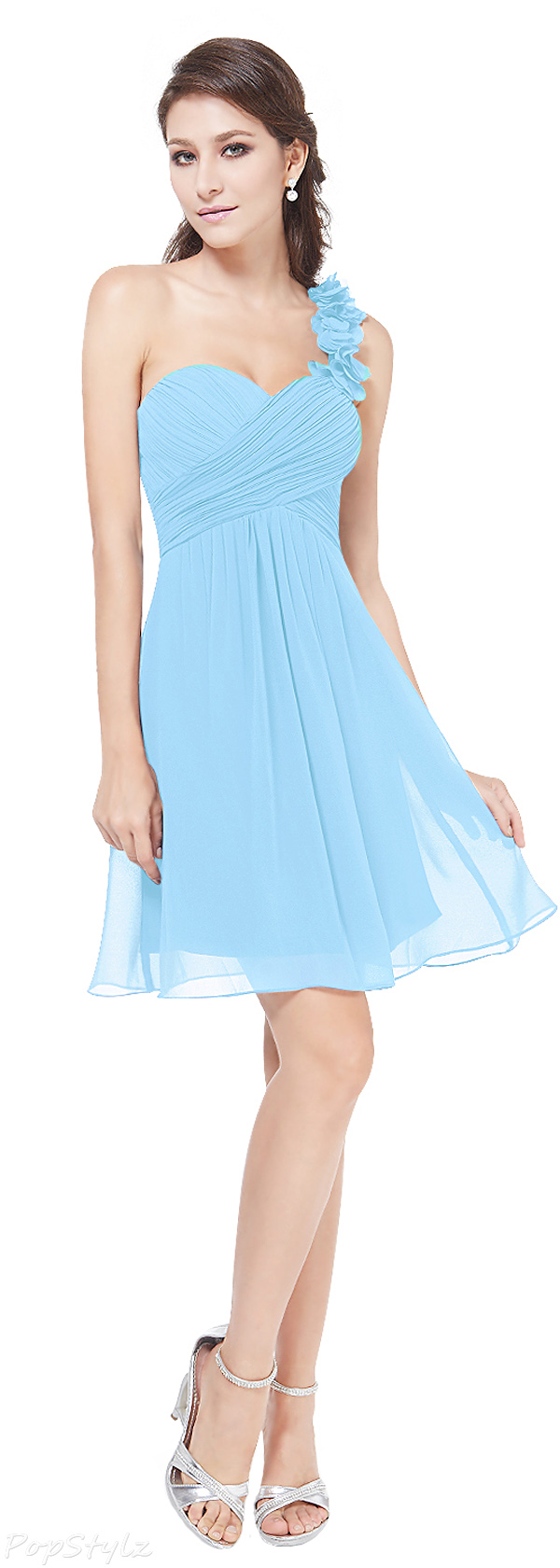 Ever Pretty 03535 One Shoulder Ruffled Short Dress