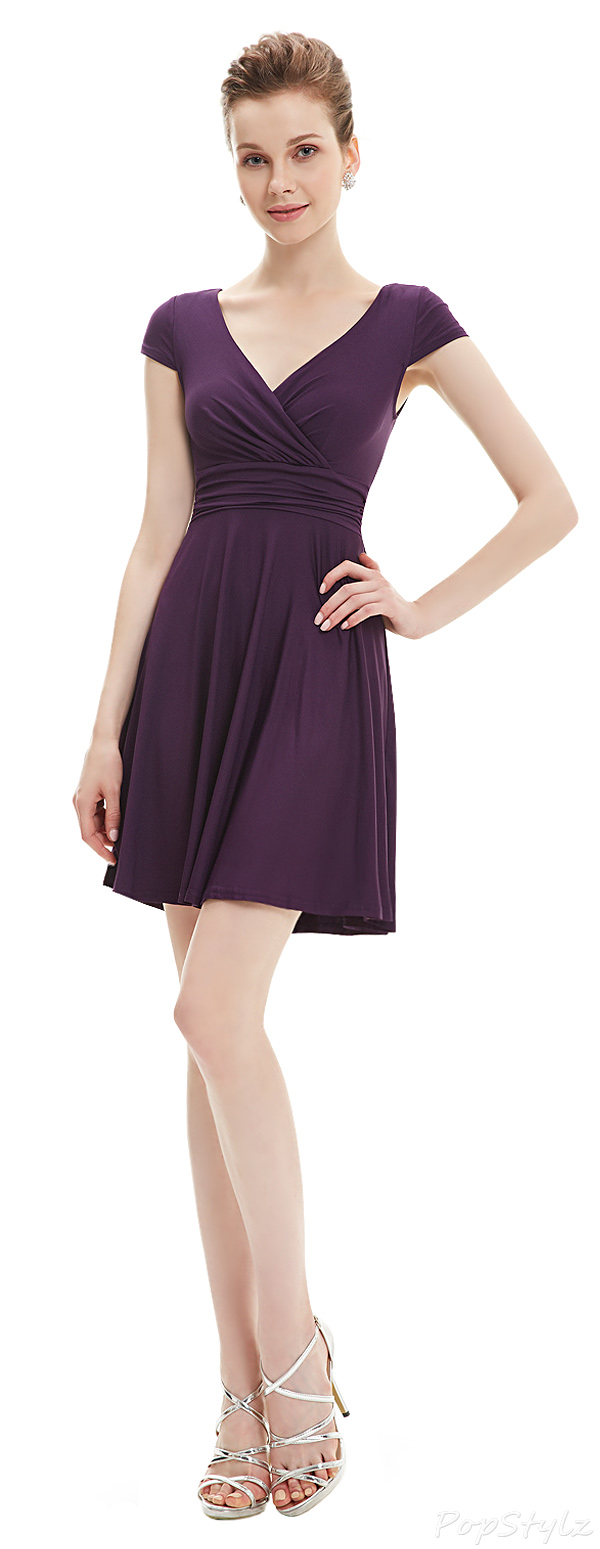 Ever Pretty 05293 Cap Sleeve V Neck Short Dress
