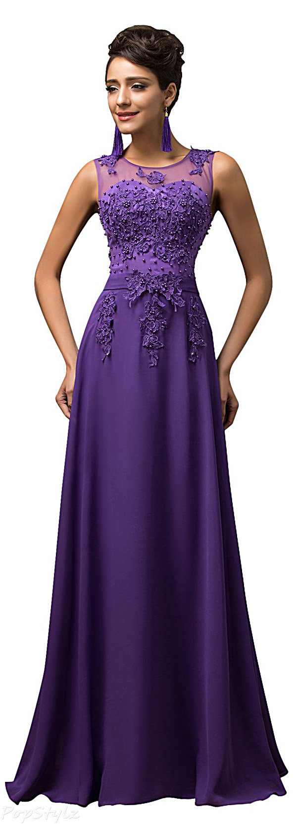 Grace Karin CL7555 Beaded V-Back Long Evening Gown