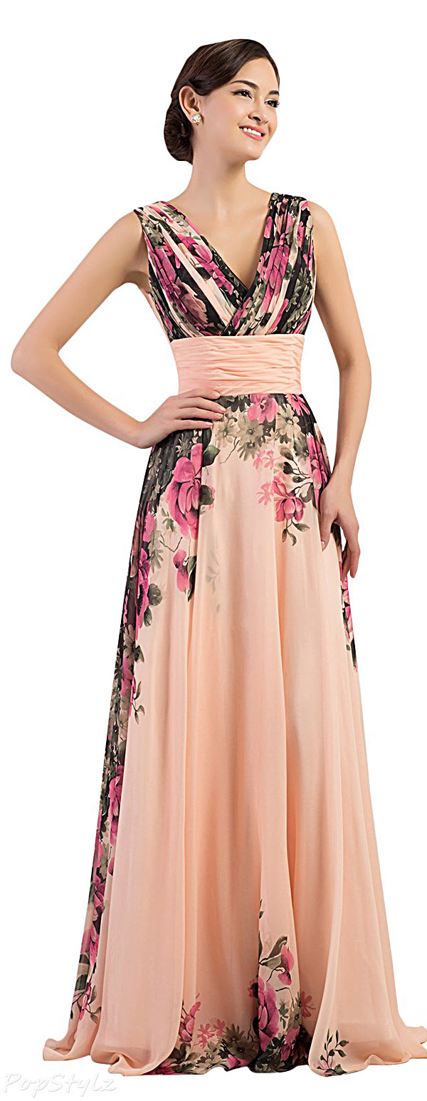 Grace Karin Floral Print Graceful Long Dress