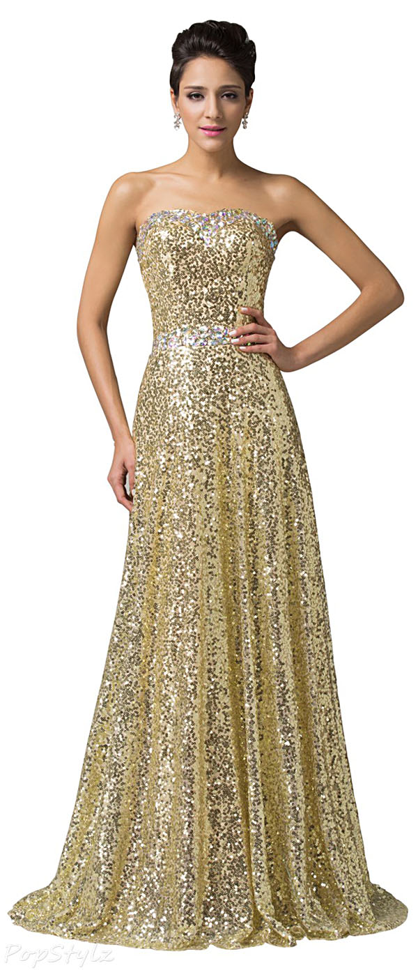 Grace Karin CL6103 Brilliant Beadings Golden Sequins Gown