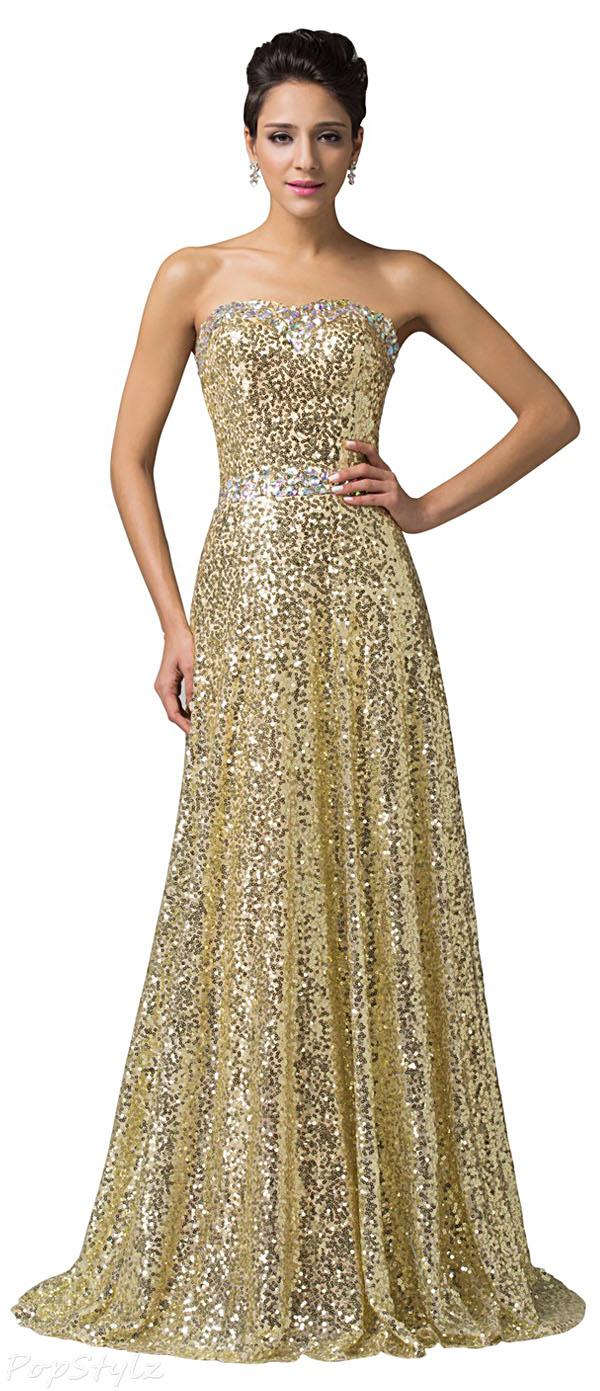 Grace Karin CL6103 Brilliant Beadings Golden Sequins Gown