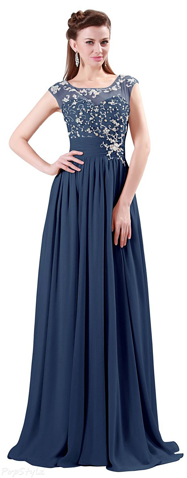 Grace Karin Elegant Beaded Long Evening Gown