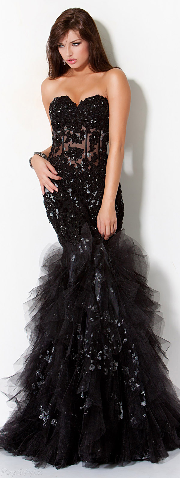 Jovani 172008 Ruffles & Lace Strapless Evening Gown
