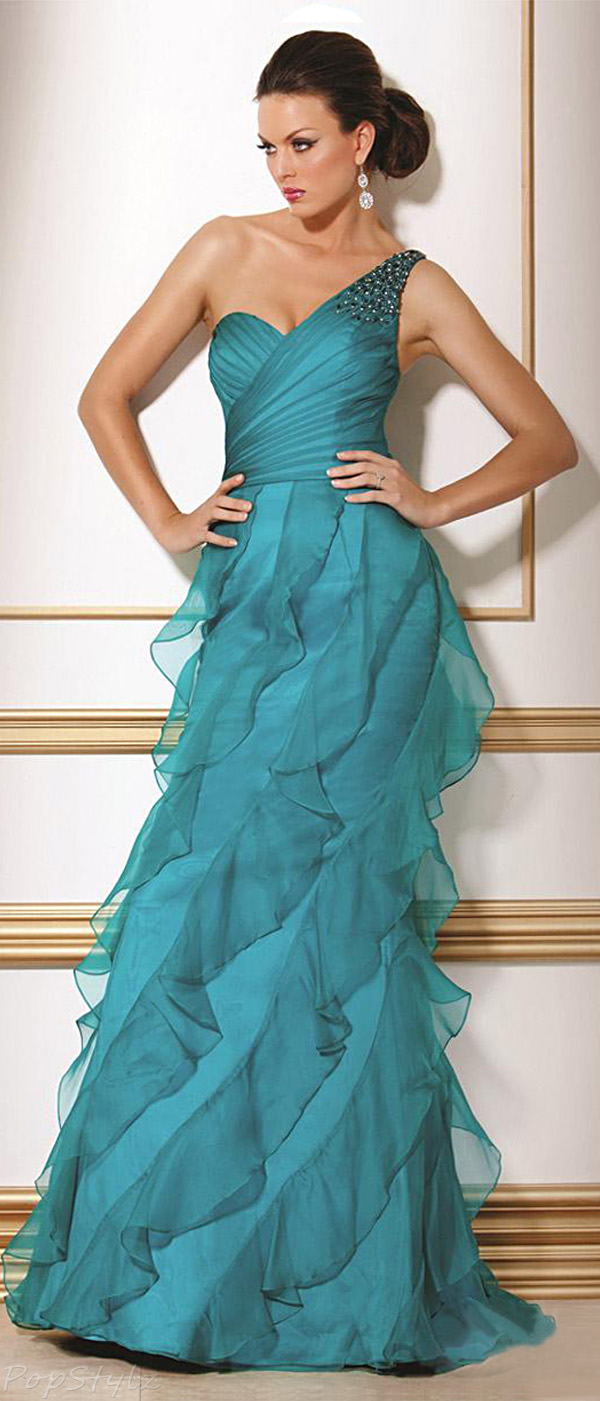 Jovani 405 Long Ruffled Evening Gown