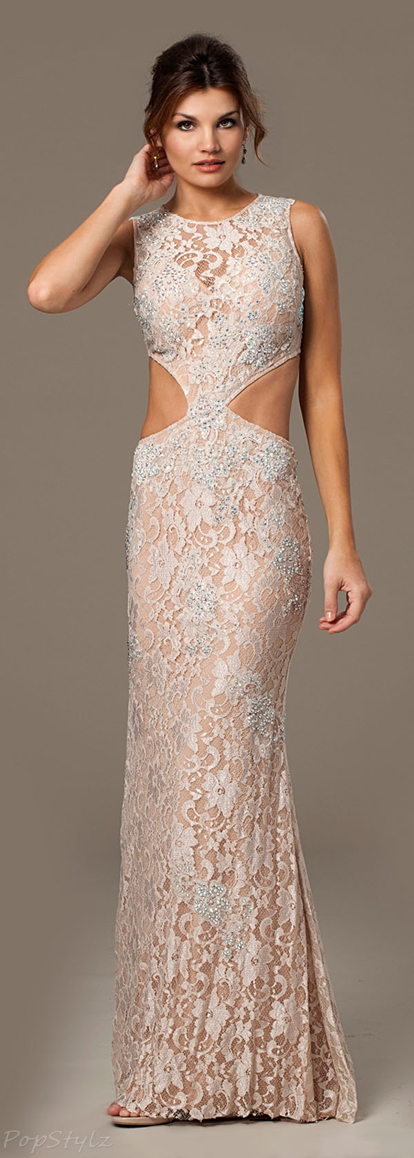 Jovani 92151 Champagne Long Lace Evening Gown